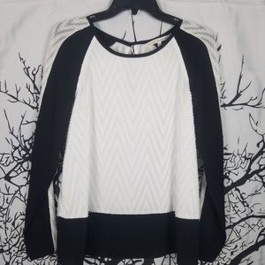 Black & White Chevron Sheer Blouse Long sleeve s